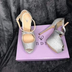 silver glitter platform heels
